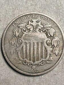 1867 Shield Nickel w/ Rays Fine