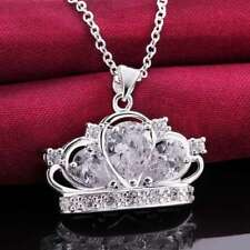 Fashion 925 Silver plated Jewelry Crystal Crown Pendants Necklace For Women N579