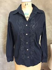 HARLEY DAVIDSON Black Shirt SILVER METAL LOGO BUTTONS Blouse Top Embroidered S/M