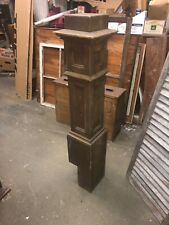 "c1900 oak mission style newel post bannister 45�H x 9�, 7.75� & 6"" square heavy"