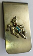 Vintage Turquoise and Coral Money Clip Bronco Rodeo Cowboy Western Silver Tone