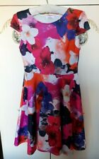 LADIES FLORAL ROCK N ROLL STYLE DRESS WITH PETTICOAT SIZE 12 UK