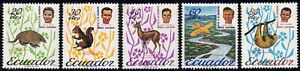 1965 Ecuador SC# 726-730 - Animals - Peter Fleming and Two-toed Sloth  - M-H