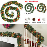 6ft / 9ft Christmas Garland Pre-Lit with Lights Fairy Xmas Fireplace Decorations