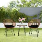 3 Pieces Cute Outdoor Patio Wicker Sets Bistro Set Rattan Chair w/ Cushions New