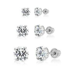 14k White Gold Solitaire Round Cubic Zirconia Stud 3 Pair Earring Set (3mm,...