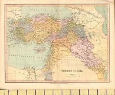c1880 MAP ~ TURKEY IN ASIA ~ AIDIN ANGORA ALEPPO SYRIA ASIA MINOR