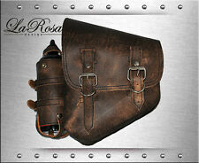 La Rosa Rustic Brown Leather Harley Softail Left Saddle Bag with Fuel Gas Bottle