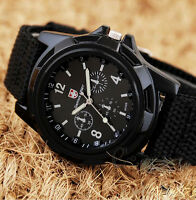 Mens Sport Watch Canvas Analog Quartz Waterproof Fahion Military Watches BlackC