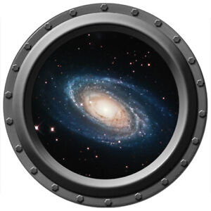 A Spiral Galaxy Seen Through A Porthole - Wall Decal - Peel and Stick FREE SHIP