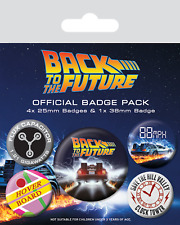 Official Back To The Future Badge Pack Of 5 Novelty Film Delorean Flux Gift