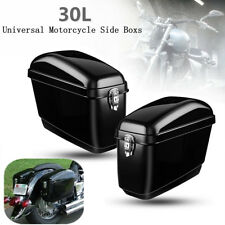 Universal Motorcycle Side Boxs Luggage Tank Hard Case Saddle Bags Cruiser UK