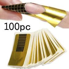 100Pcs Golden Nail Art Tips Extension Forms Guide French DIY Tool Acrylic UV Gel
