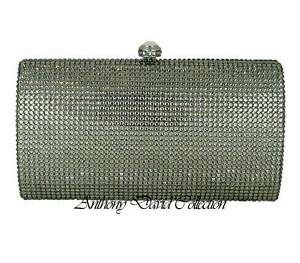 Anthony David Silver & Pewter Gray Crystal Evening Bag with Swarovski Crystals