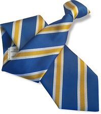 British Woven Mens Striped Clip On Clipper Security Ties  Satin and Repp Weave