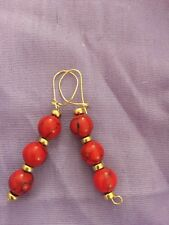 Red Turquoise Earrings gold filled