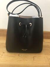Kate Spade Large Bucket Leather Bag NWT $379 WRKU856 Black