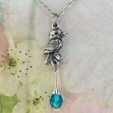 Australian Kookaburra Souvenir Necklace with Blue Crystal Australiana Gift