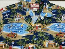 RJC Mens Hawaiian Scenery Surf Waves Cars Camp 100% Cotton Shirt Size Large