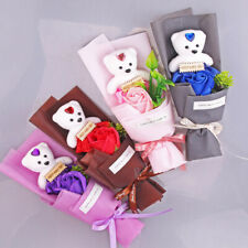 FE- HD_ Handmade Artificial Soap Rose Flower Bear Doll Party Valentine Day Gift
