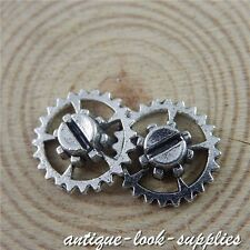 Vintage Silver Alloy Round Gear Wheel Pendants Charms Jewelry Crafts 40pcs 50701