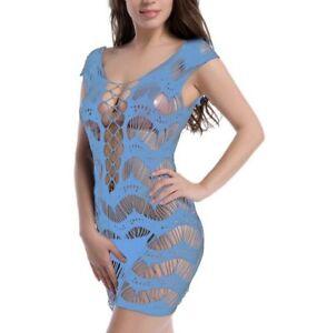 Damen Catsuit Teddy Mini Netz Dessous Blau Fishnet Gogo Reizwäsche C-String S/M