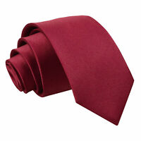 Boys Regular Tie Satin Solid Plain Burgundy Wedding Kids Child Pre-Tied by DQT