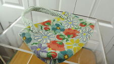 Vtg Needlepoint Tapestry Purse Bright Retro MOD Floral Braided Yarn Handles