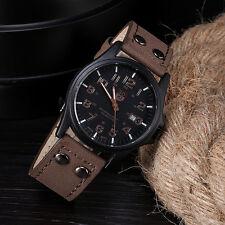 Waterproof Men's Vintage Classic Date Leather Sports Quartz Army Watch