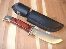 NEW CUSTOM BUCK 103 BO2 SKINNER KNIFE ROSEWOOD HANDLE 420HC + LEATHER SHEATH USA