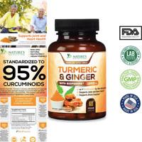 Natural Turmeric Curcumin Ginger Max Potency w/BioPerine Black Pepper 1950mg USA