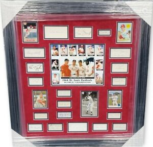 1964 St Louis Cardinals World Series Signed Auto Collage Framed Bob Gibson Brock