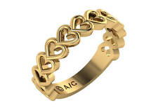 heart plain unisex 18k yellow gold wedding ring 3.3mm size 6