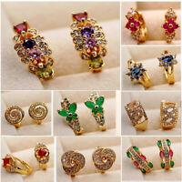 Boho 18K Gold Filled Earrings Rhinestone Topaz Zircon Hoop Cuff Stud women Party