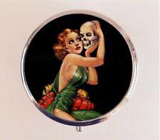 Skull Woman Pill Box Case Pillbox - Goth Gothic Pulp Fiction Stash Box