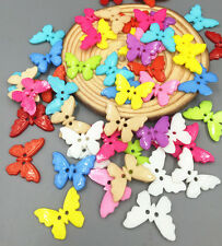DIY 100X Mixed Color Resin Sewing butterfly Buttons Scrapbooking Decoration 21mm