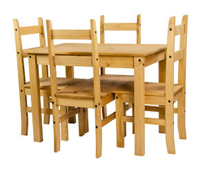 Corona Dining Table and 4 Chairs Budget Set Mexican Pine by Mercers Furniture®