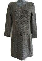 GANNI Women's Black/Cream  Mix Tweed Herringbone Textured A-Line Dress. Size XS.