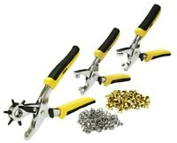 Rolson 3pc Punch Eyelet Pliers Set & Grommets Sitting Leather Hole Punch Kit