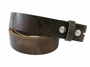 Chocolate Brown, Vintage Glazed, Buffalo Leather Belt Blank With Snaps & Matchin