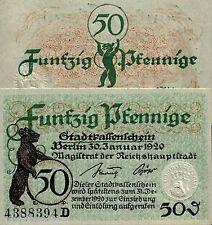 RARE 1918 WW1 BERLIN GERMANY 50PF BILL w EMBOSSED SEAL & CUTE BEAR XF! HISTORIC!