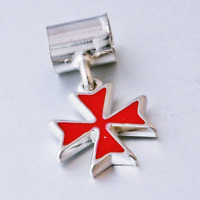 Hallmarked Sterling Silver Red Maltese Cross Charm Pendant Fit European Bracelet