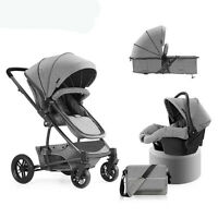 Luxury 3 in 1 Foldable Baby Stroller Pushchair High View Travel Pram Car Seat