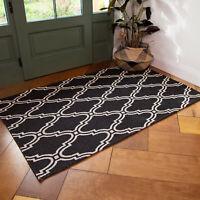 Black Trellis Flatweave Rug Moroccan Recycle Cotton Living Room Hall Runner Rugs