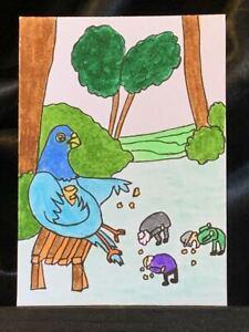 Original ACEO Bird Feeding Humans Medium Black Ink Marker on Paper Signed Artist