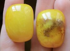 Vintage Gold Plated Natural Russian Soviet Baltic Amber Cufflinks Yellow 10.8 gr