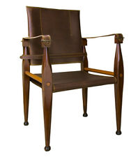 "Bridle Leather Campaign Chair 35"" Wooden British Officer's Camp Furniture"