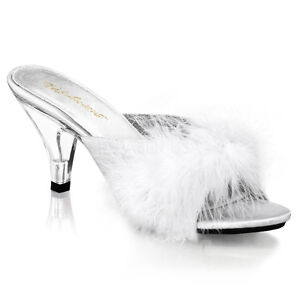 """PLEASER Sexy White Marabou Feather Slippers 3"""" Heels Bedroom Shoes BEL301F/WPU"""