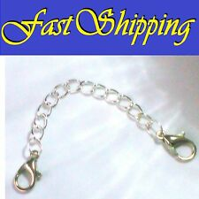 "5"" SILVER EASY OPEN DOUBLE LOBSTER CLAW CLASP NECKLACE BRACELET EXTENSION CHAIN"