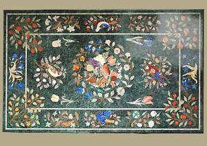 "48"" x 32"" green marble Table Top inlay semi precious stones work"